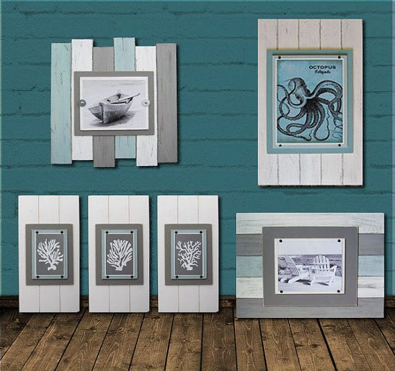 This is a beautiful eclectic set of Hand Crafted Distressed Plank Frames, Four with Graphic ART Prints and two Frames for your Photos. This set