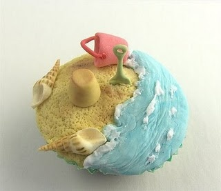 Adorable and very detailed beach cupcake