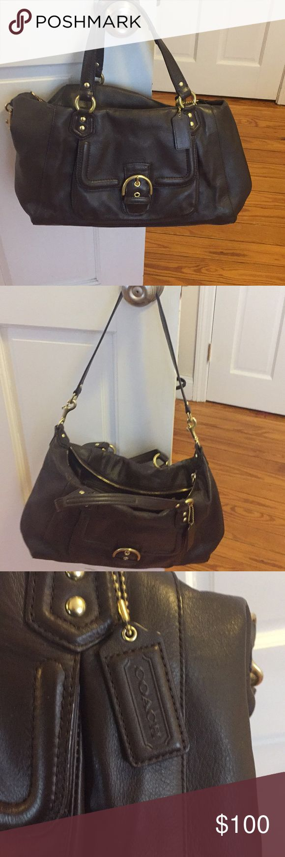 Brown leather coach bag Brown leather Coach Purse. Removable longer strap. Like new condition Coach Bags Shoulder Bags