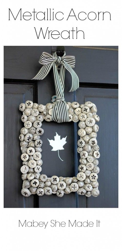 Gorgeous! Must make this Metallic Acorn Wreath   Mabey She Made It   #wreath #autumn #acorn #homedecor