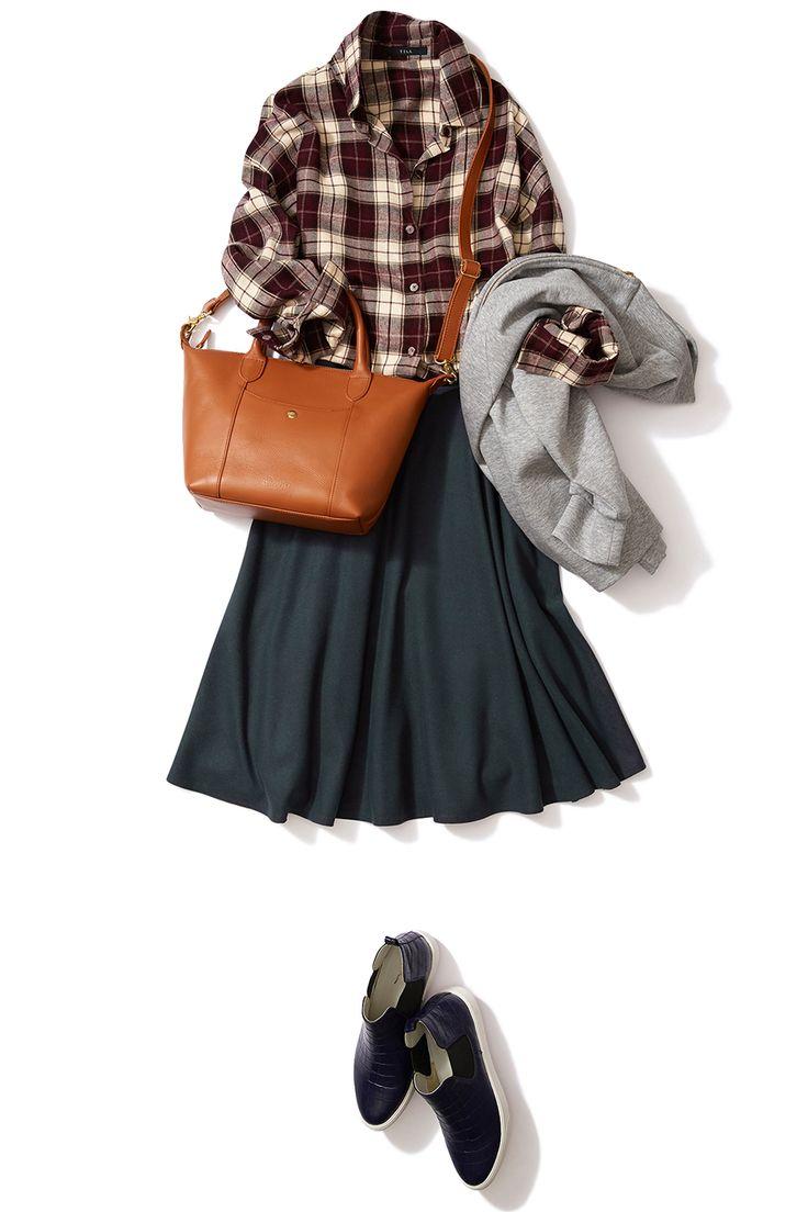 秋はモスグリーンスカートでオシャレに幅を!大人丈スカートでキレカジコーデ ― A