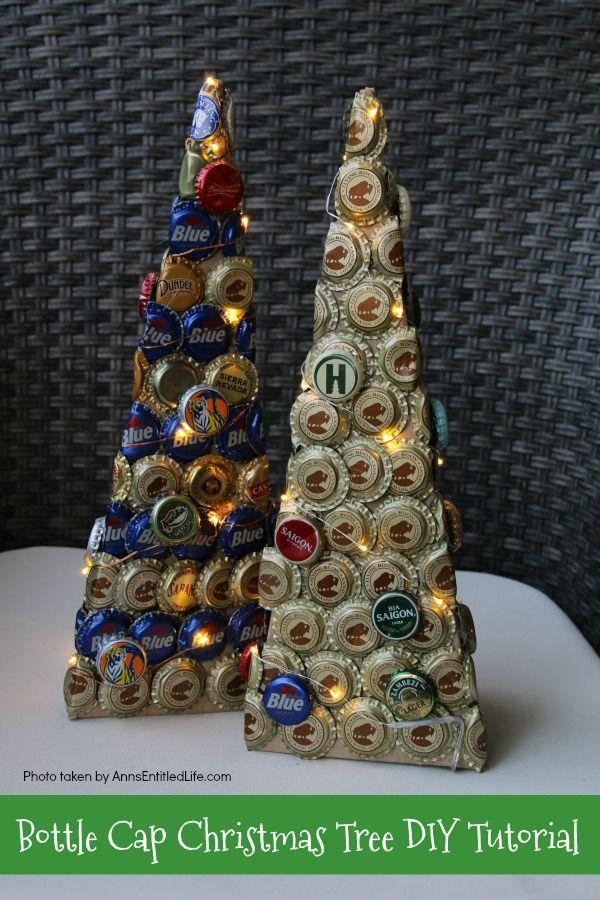 Bottle Cap Christmas Tree Diy Tutorial Beer Cap Crafts Beer Cap Crafts Diy Beer Bottle Cap Crafts
