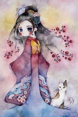 kimono%2ccute%2cpainting%2cart%2ccolor%2cfema le-4dadd546defbd3caad4d301c589004cc_h_large