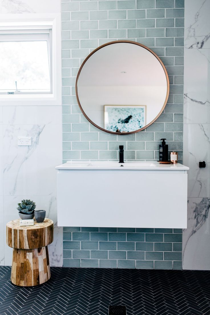 Home Decoration Ideas: Modern Bathroom Inspiration - Beautiful Soft Blue Tiles & Big Round Mirror -THREE BIRDS HOUSE 4