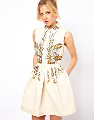 ASOS Shirt Dress With Habanero Embroidery