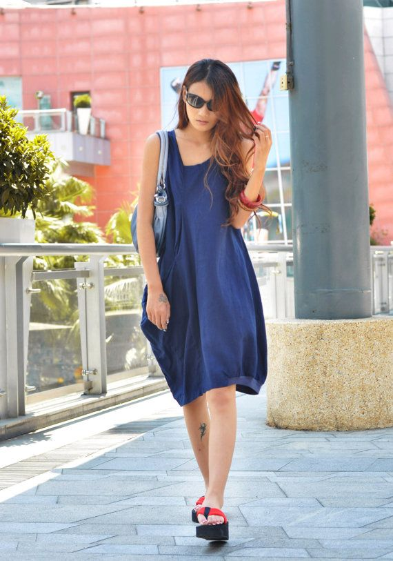 Lagenlook Summer Dress in Deep Blue Single Big Pocket Linen Sundress for Women  - NC037 on Etsy, $89.99
