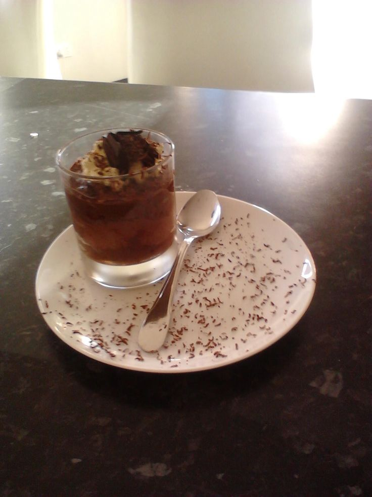Double chocolate mousse with dark chocolate shavings