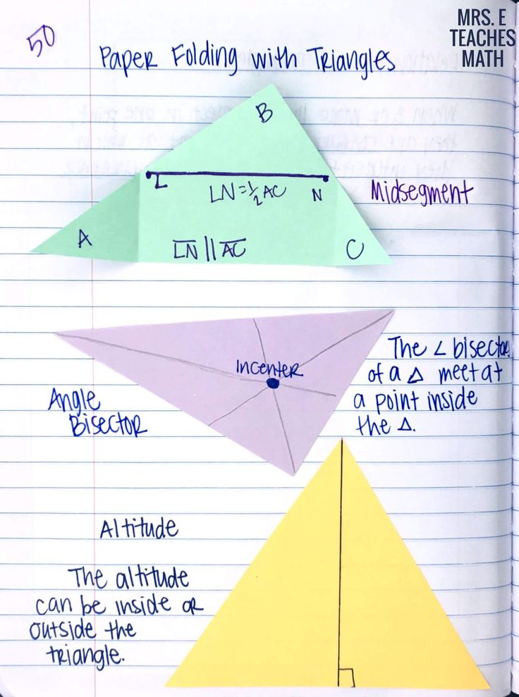 Midsegments, Angle Bisectors, and Altitudes investigation for geometry - add to interactive notebooks