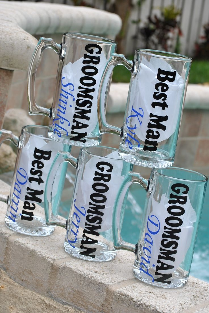 Beer Mugs personalized for the Groomsman. Check them out at Sticker Shop Unlimited engagement gift ideas