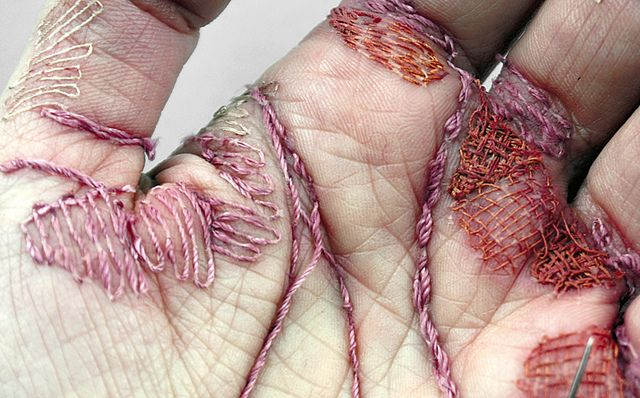 """This is not for the faint of heart: Eliza Bennett's """"Woman's Work is Never Done"""" http://wp.me/pjlln-2sh: Challenges, Hands Embroidery, The Artists, Eliza Bennett, Woman Work, Canvas, Palms, Artists Eliza, Elizabennett"""