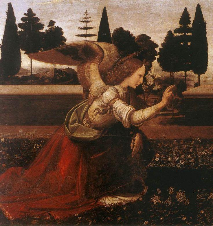 Leonardo da Vinci (1452-1519)  Annunciation [detail: 1]  Tempera on wood  1472-1475