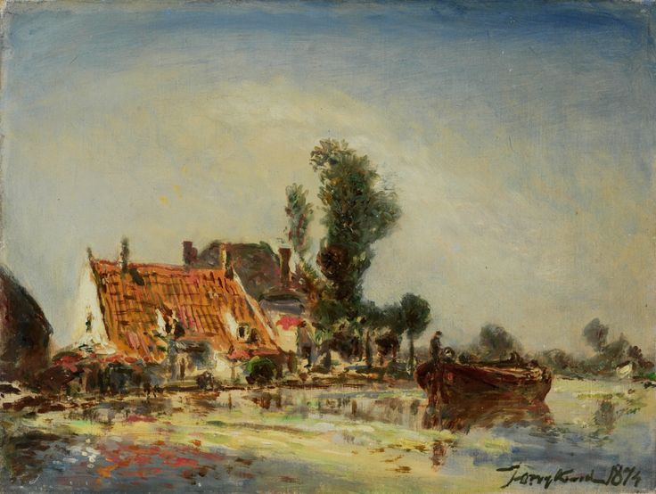 Johan Barthold Jongkind, Houses along a Canal near Crooswijk (1874), oil on canvas, 25 x 32.5 cm, Rijksmuseum, Amsterdam. Wikimedia Commons.