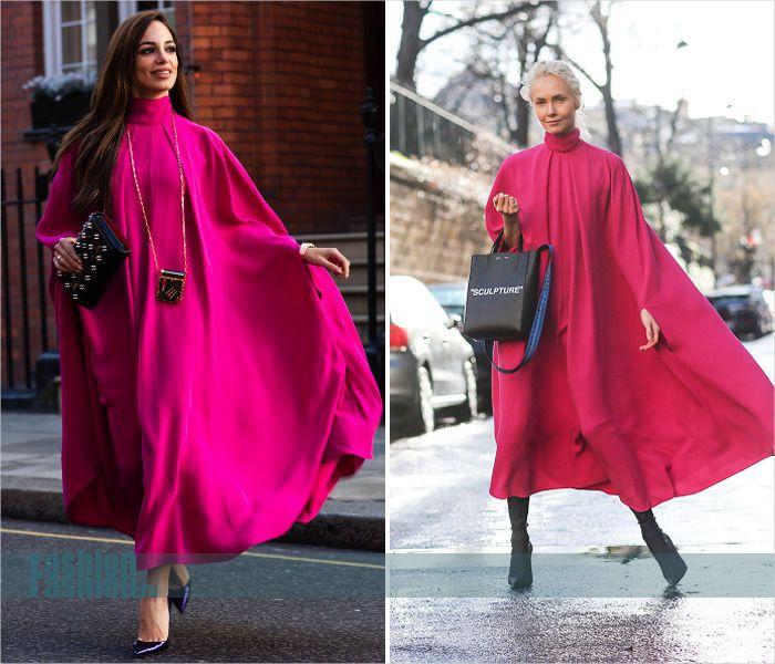 Платье-кейп цвета фуксии от Valentino: как носить?