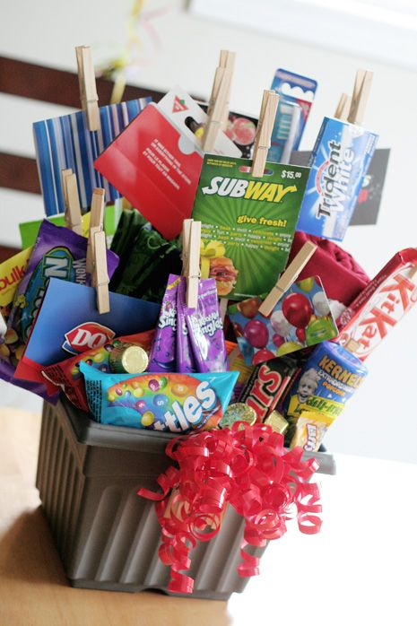 Gift basket of 30 things on a 30th birthday...but great idea for any age!