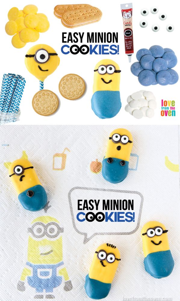 Easy Minion Cookies. Super cute treat idea for a Minion party! #minions