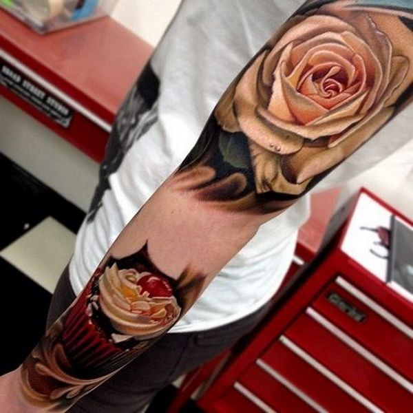 White Rose Sleeve Tattoo Ideas for Guys