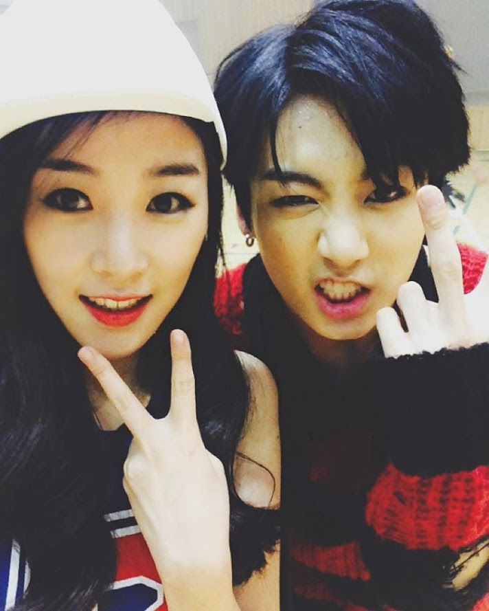 Jungkook with his cousin (yes she was in the war of hormone mv.......)