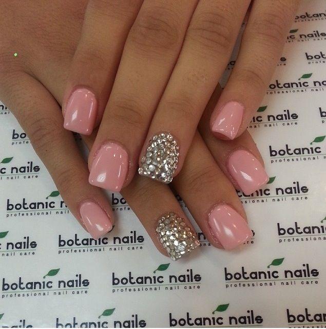 rosie pink silver rhinestone nails nails pinterest
