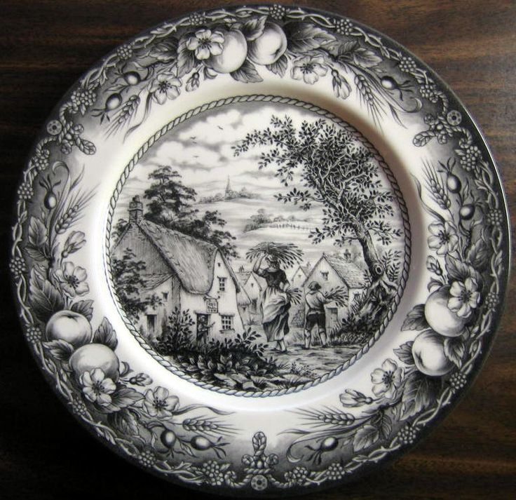 "11 """". SO HARD TO FIND. Don't know if I will ever get more. This is a wonderful toile pattern. Wonderful center woman and boy motif with super lush fruit edge pattern. Very nice. Made in Staffordshire"