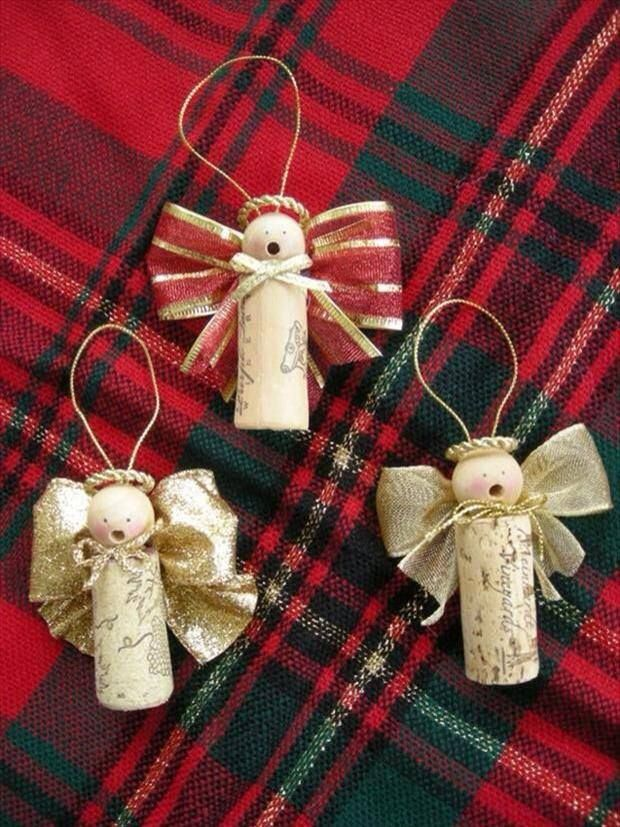Cork angel ornaments- wooden beads for the head, ribbon for wings.                                                                                                                                                                                 Mais