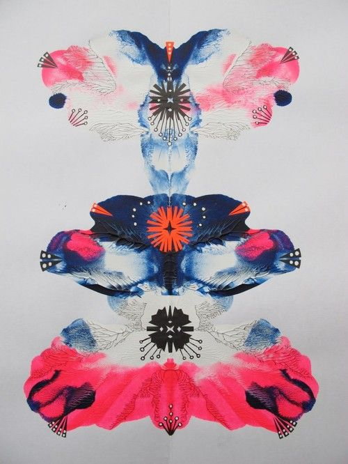 butterfly print ink blot pattern mirror image pink blue illustration paint illustrator mixed design art