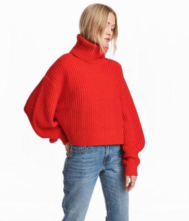jersey en mezcla de lana rojo vivo mujer h m mx
