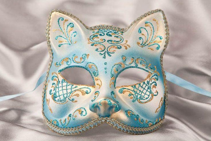 Venetian Masquerade Cat Mask with Gold Trim...~I love the mystique...