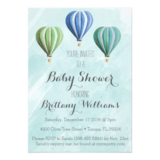 415 best adventure baby shower invitations images on pinterest adventure hot air balloon baby shower invitation stopboris Image collections