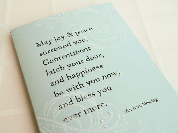 Irish Blessing Wedding Card  Handmade Card   white blue by newnanc