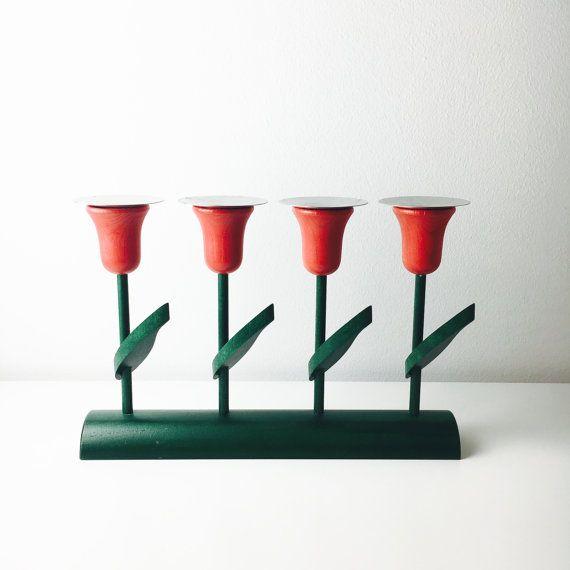 Vintage Aarikka tulips flower candle holder by FinnishVintageOasis