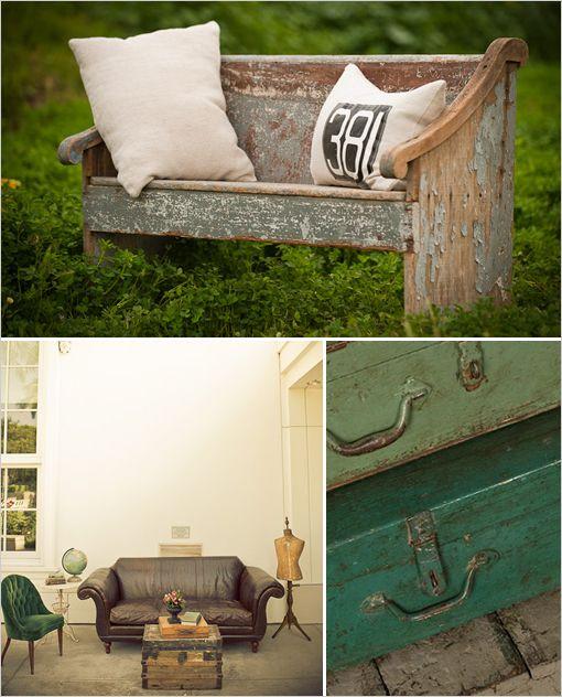 vintage: Leather Couch, Wedding Furniture, Vintage Weddings, Black And White, Vintage Wardrobe,  Bees Houses, Vintage Furniture, Photo Shoots, Vintage Decor