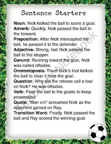 soccer sentence starters from lobome on teachersnotebook com  1 page
