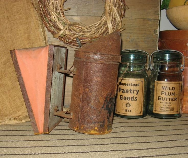 Rustic Primitive Farmhouse Vintage Rusty Bee Hive Smoker Bellows #NaivePrimitive