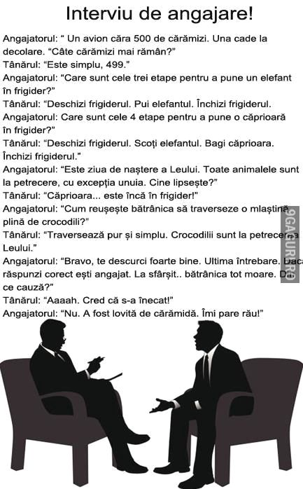 Ce poate să te întrebe la un interviu   Link Postare ➡ http://9gaguri.ro/media/ce-poate-sa-te-intrebe-la-un-interviu
