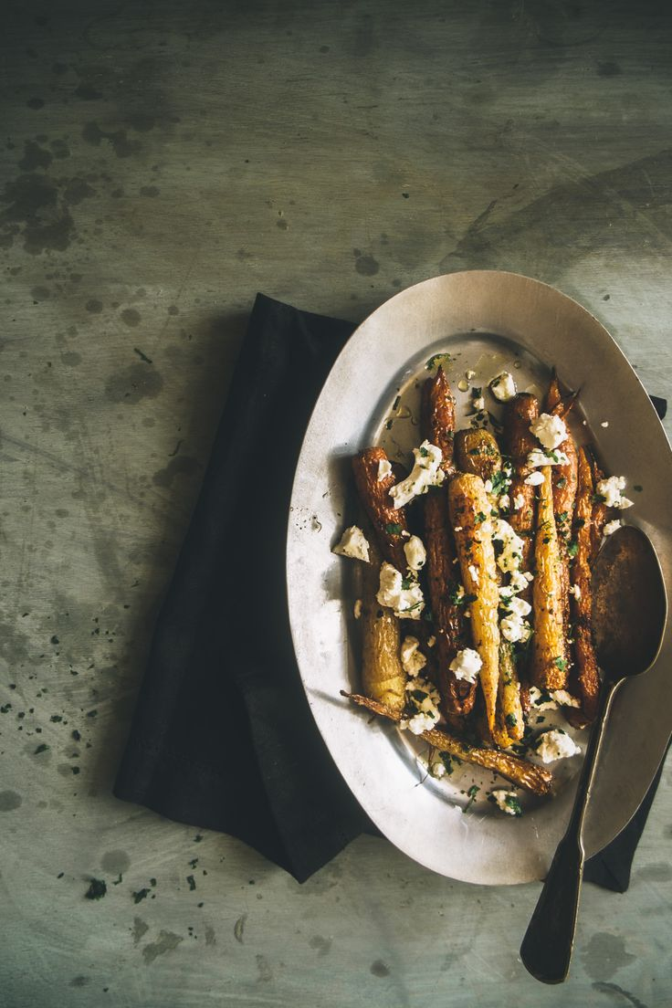 roasted carrots with fennel and goats cheese