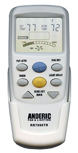 """Anderic Replacement for Hampton Bay CHQ7096T with """"Reverse"""" key Thermostatic Remote Control for Hampton Bay Ceiling Fans (FCC ID: CHQ7096T,…"""