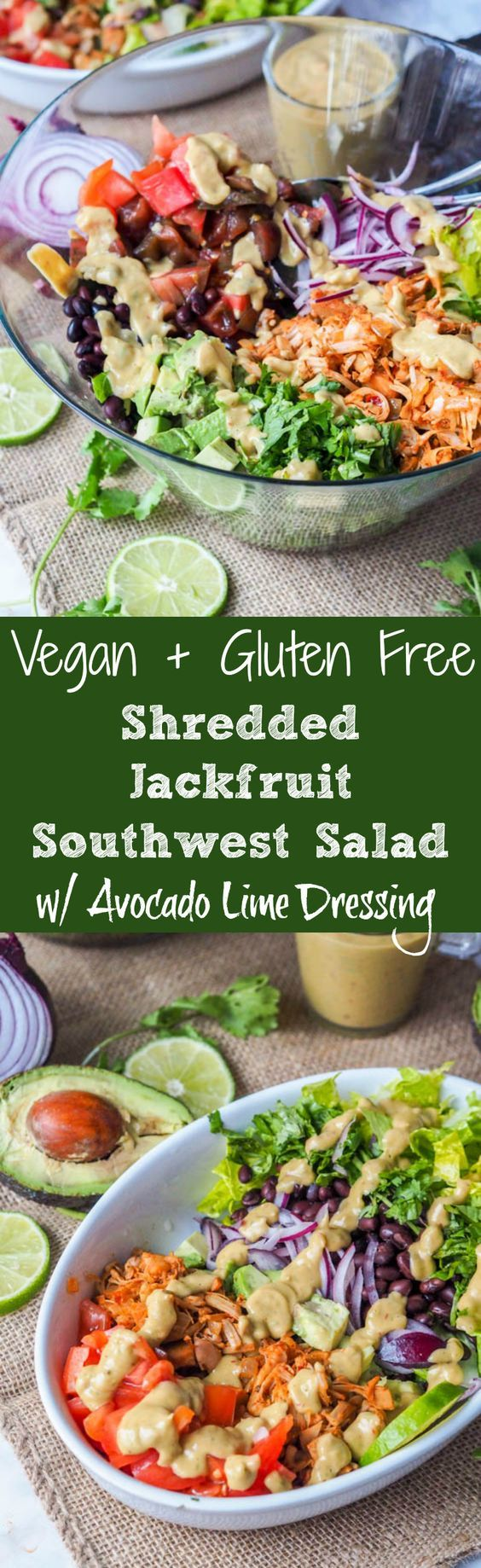 A super filling vegan and gluten free healthy and nutritious Southwest salad. This recipe calls for shredded jackfruit which makes a perfect plant based substitute for meat. This salad is packed full of vitamins and nutrients with romaine, tomatoes, red onions, avocado, black beans and a super-rich and creamy avocado lime based dressing. |avocadopesto.com #addavocado #LoveOneToday #ad