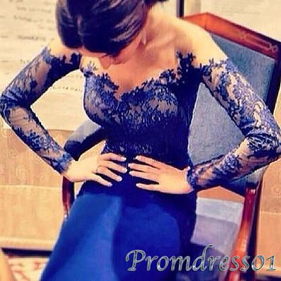 Modest prom dress, navy blue senior prom dress, long sleeve ball gown, 2016 handmade lace chiffon evening dress for teens www.promdress01.c... #coniefox #2016prom