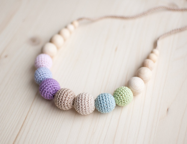 When my kids teeth, they will be classy. Teething necklace / Crochet nursing necklace - Pastel colors, Ice-cream, Gradient. $23.00, via Etsy.