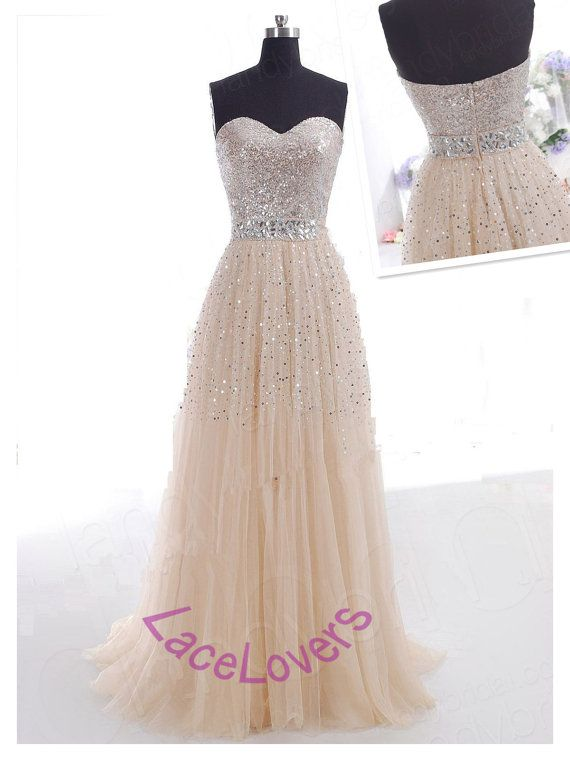 A Line Modest Fashion Elegant Plus Size Long Prom Evening Bridesmaid Dresses Lace Sequin Crystal 2014 Sleeveless Formal 2013 Dress Simple 17 on Etsy, $166.00