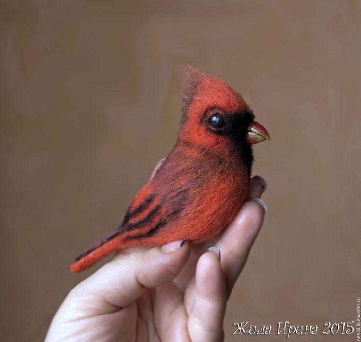 Купить Красный кардинал брошь - ярко-красный, птицы, птица, птица брошь, птица из шерсти