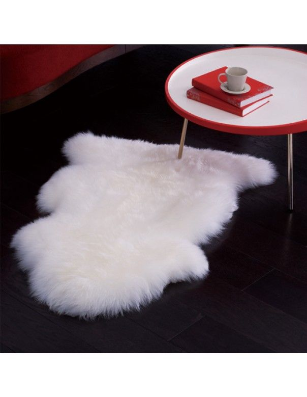 Ivory Wool Shag Rug (2ft. X 3ft.) Cozy Sheepskin by Super Area Rugs - $42.99