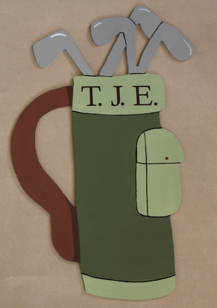 Items Similar To Golf Bag   Wooden Mural Hand Cut And Hand Painted   Custom  And Personalized Kid Room Decor On Etsy