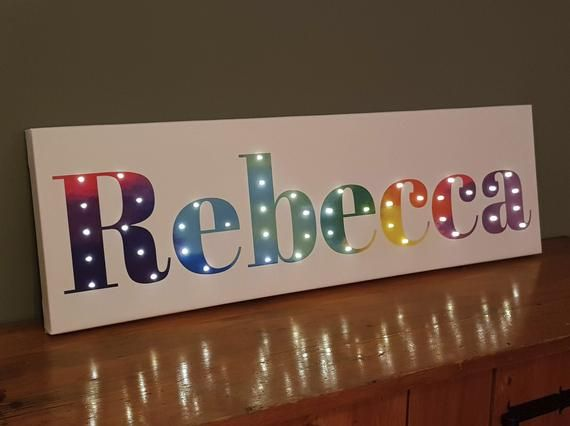 Lighted Name Sign Rainbow Lettering Rainbow Wall Art Etsy In 2020 Night Light Kids Rainbow Wall Art Light Up Letters
