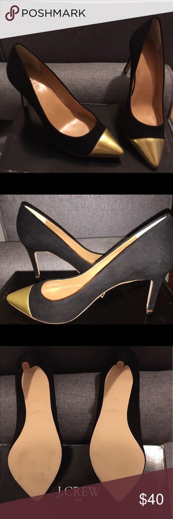 "J. Crew - Sasha Suede Black And Gold Pumps Suede Black And Gold 4"" Pumps - Never Worn J. Crew Shoes Heels"