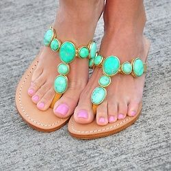 Turquoise, love these sandles. Not turquoise tho. More seafoam greenish