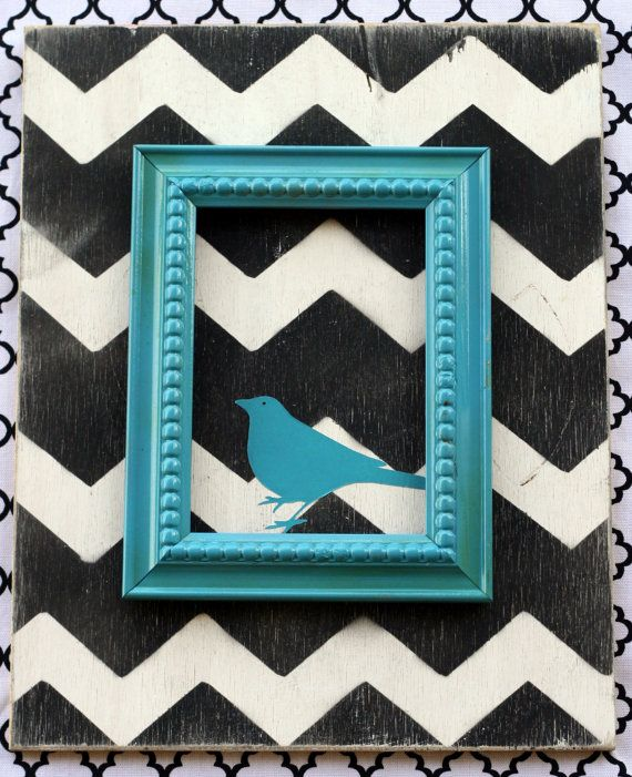 Contemporary Handmade Black and White Chevron Zig Zag Wall Art Home Decor with Turquoise BlueBird Accent.  Choose Your Colors. CUSTOM MADE. $46.00, via Etsy.