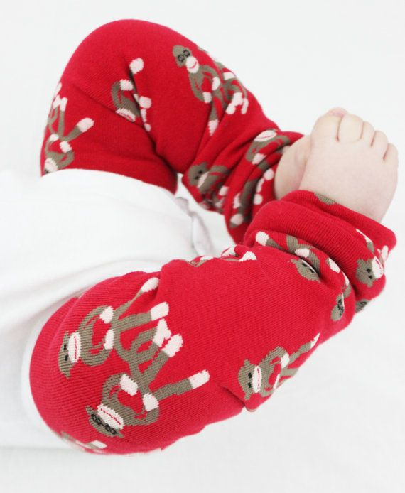 Sock Monkey Baby Leg Warmers Red with Brown and White by GigglePoo, $15.00