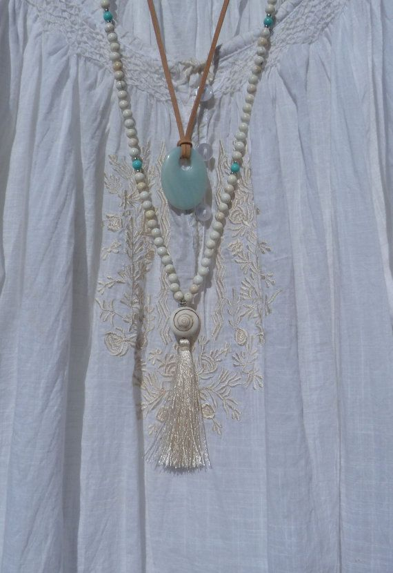 long beaded tassel necklace  yoga by the sea  by beachcombershop