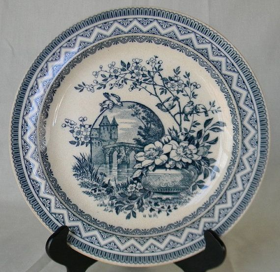 Wedgwood Victorian Aesthetic Teal Blue Transferware Plate Birds On A Branch Vase Of Flowers